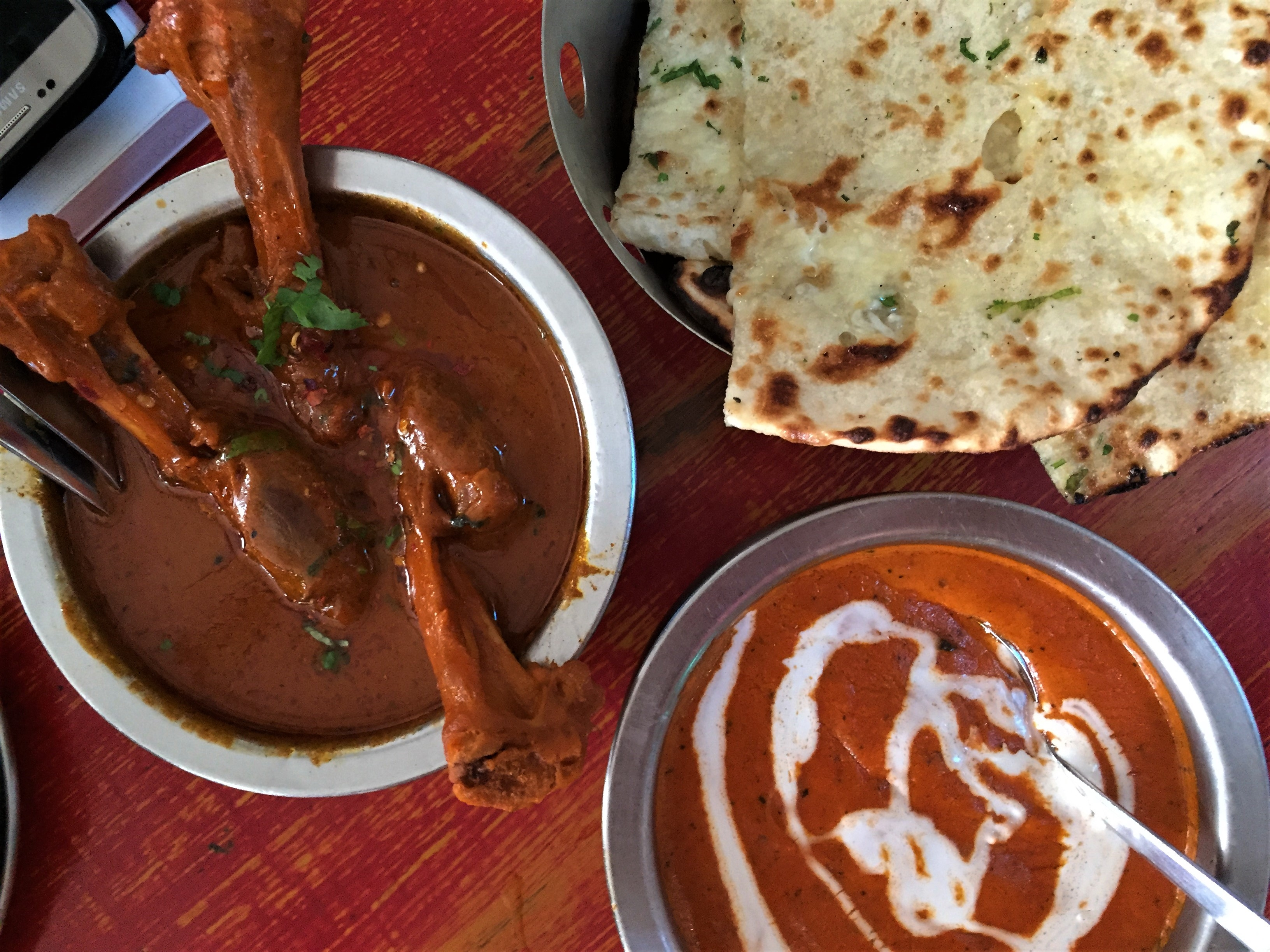indian food is delicious with lamb and chicken
