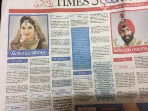 Arranged marriage newspaper advertising