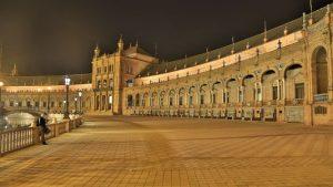 The Plaza de España at night Seville
