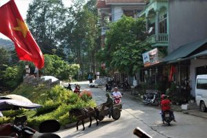 Bac Ha town with horse and cart