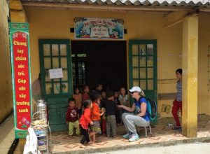 Bac Ha school entrance with children